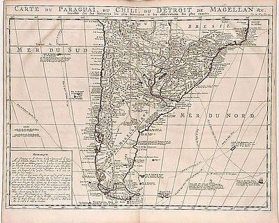 Antique map, Carte du Paraguai du Chili du Detroit de Magellan