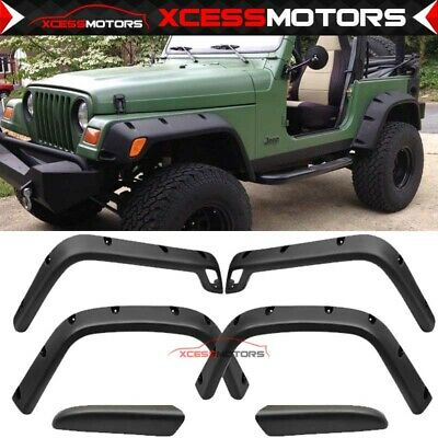98-06 Jeep Wrangler Tj Fender Flares Pocket Style Black ABS Protector Cover 6Pcs