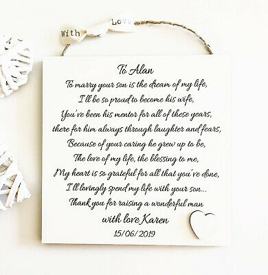 Personalised Father Of The Groom Gift, Wedding Thank You Poem from Bride W179