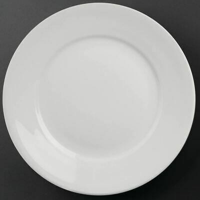 6X Athena Hotelware Wide Rimmed Service Plates 11 In Porcelain White
