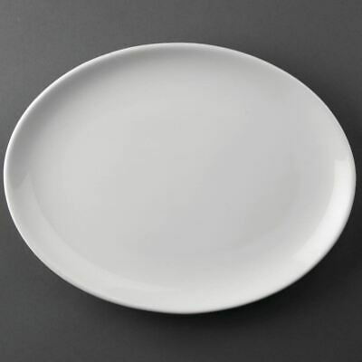 12X Athena Hotelware Oval Coupe Service Plates 254X197 mm Porcelain White