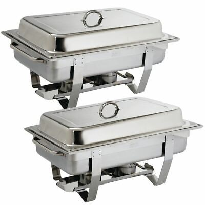 2X Olympia Milan Chafing Set Twin Pack 635X317.5X102mm 18/0 Stainless Steel Dish