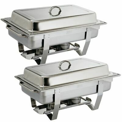 Milan Chafing Set Food Warmer in Stainless Steel - 635 x 317.5 x 102 mm - 9L 2pc