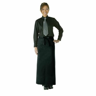 Uniform Works Long Bistro Apron Polycotton Black Chefs Kitchen Catering