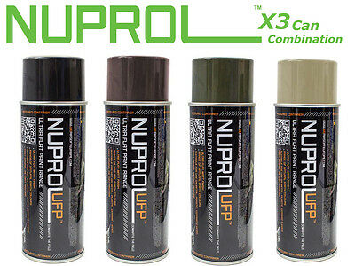 WE Europe NUPROL ULTRA FLAT PAINT Spray Paint Black Tan Brown Green x3 Cans