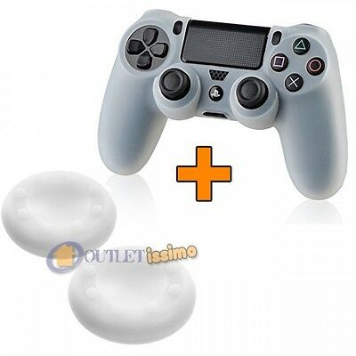 Set Cover Silicone Controller + 2 Gommini Joystick Playstation 4 Ps4 Bianco