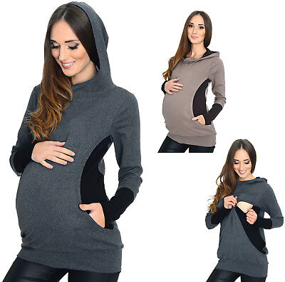 MIJA /  2 in1 Maternity & Nursing breastfeeding warm Hoodie Top Pullover 3078