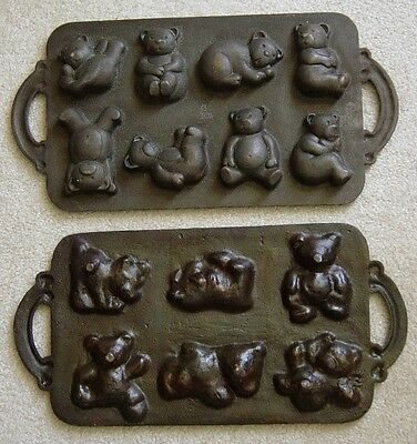 2 Antique? Vintage Teddy Bear Cast Iron Cornbread Candy Cake Molds Used Stamped