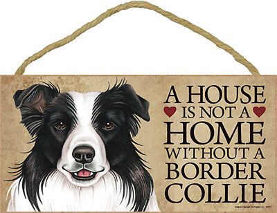 Border Collie Wood Dog Sign Wall Plaque 5 x 10