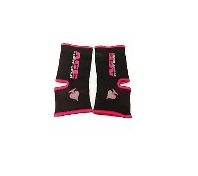 Muay Thai ACE Fight Gear ILL FORTUNE Pink Ankle Supports MMA Thai Boxing