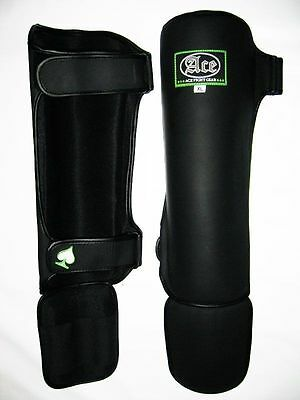 ACE Fight Gear Shin Guards - MUAY THAI Adult Kids Youth MMA KICK TWINS Leather