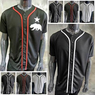 ce1c1daa5 New Mens Baseball Jersey T Shirt Full Button Solid Plain Blank Xs~5X