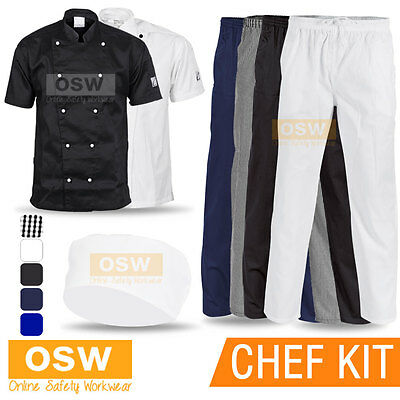 Unisex Mens Ladies Chef Jacket/Pants/Hat Student Hospitality Work Restaurant Kit