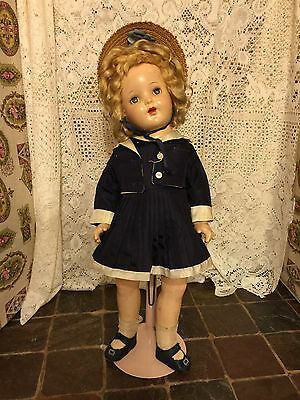 "Vintage Antique Composition Doll Blue Eyes 22"" Tall 1940's Blonde Effanbee Ideal"