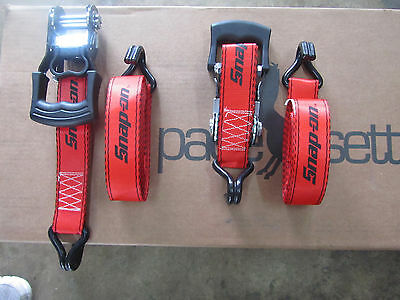 "16'x1-1/2""  SNAP ON Ratchet tie down straps red"
