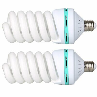 2X Video Studio Continuous E27 Fluorescent Tricolor Light Bulb 5500K 150W 240V