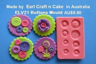 Buttons Silicone Mould  Cake Decorating Gum Paste Sugar Cupcake Topper