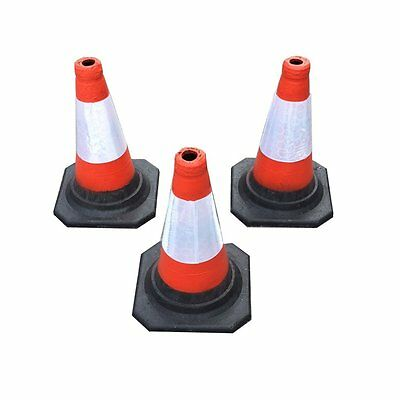 "(PACK OF 3) Road Traffic cones 18"" (450mm) Self weighted safety cone"