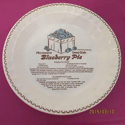 Country Harvest Royal China Blueberry Pie Recipe Plate Dish Ironstone 1983