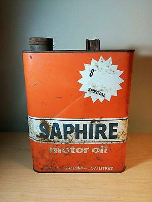 Vintage Saphire Motor Oil Can 2 gallons Gulf Oil Co