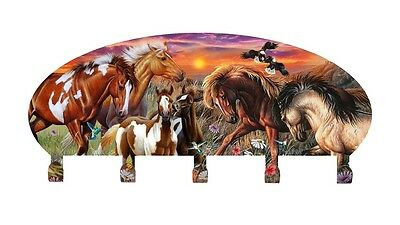 Horse Collage Coat Rack Metal Wall Art Made in USA