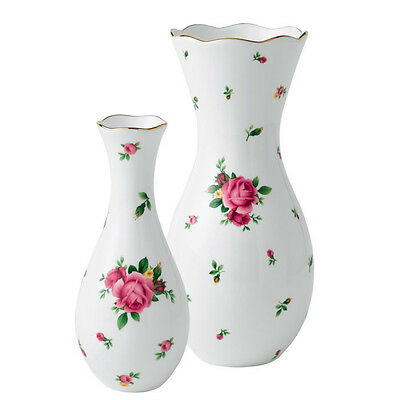 Royal Albert New Country Roses White Large Vase, Bud Vase and Trinket Set