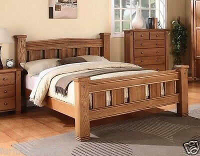 MICHIDEAN 4'6 Double Solid Natural Oak Bed Frame