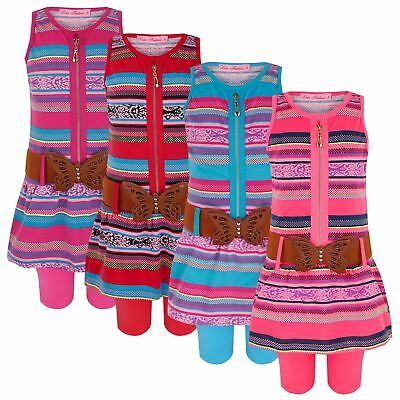 Girls Stripy Belted Zip Front Dress Top & Leggings 3 Pieces Set 1-12 Years