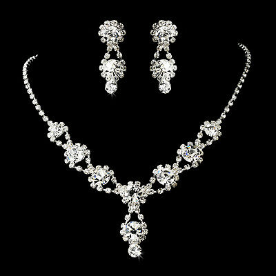 Silver Wedding Necklace&Earring Set w Crystals and Clear Rhinestones