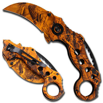 Commando Karambit Hawk Bill Real Tree Orange Tactical Spring Assisted Knife