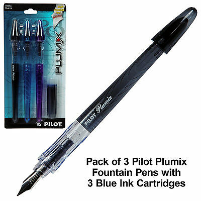 Pilot Plumix 90054, 3-Pack Blue Ink Refillable Fountain Pens & Ink Cartridges