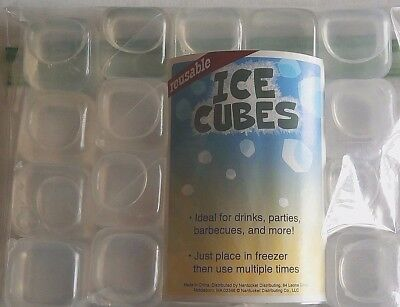 Reusable Ice Cubes  20 Ct. CLEAR Ideal for Drinks,Parties,Barbecues and More