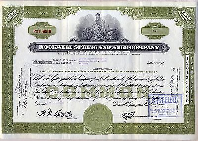 Rockwell Spring and Axle Company Stock Certificate Collins