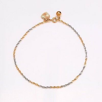 """9ct 9k Yellow & White """"Gold FILLED"""" Twisted Bell ANKLE CHAIN ANKLET ,10.6"""" GIFT"""