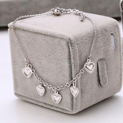 "9K 9ct White ""Gold FILLED"" Ladies Hearts & Bell ANKLE CHAIN  Anklet 10.23"" Gift"