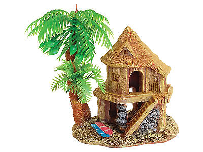 Wooden Beach House with Palm Trees Fish Cave Aquarium Fish Tank Ornament