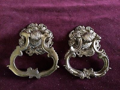 2 Antique brass ring pulls with backs ***Very Rare***