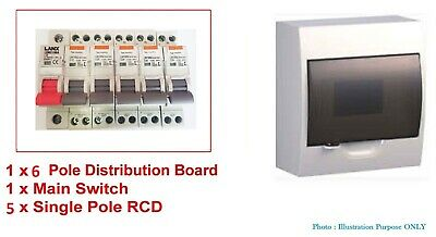 Complete 6 Pole/ Way Switchboard + RCD MCB Main Switch Distribution RCBO BOARD