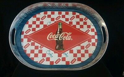 """COCA COLA  COKE """"GALVANIZED METAL DEEP OVAL"""" SERVING TRAY *RED CHECKED *2003"""