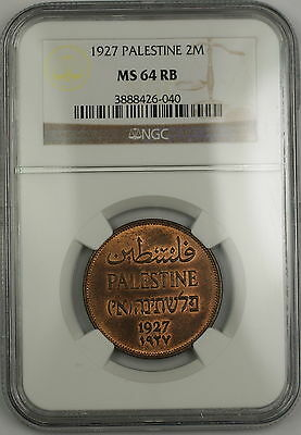 1927 Palestine 2m Two Mils Coin NGC MS-64 RB Red-Brown *Scarce Condition*