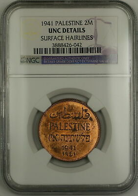 1941 Palestine 2m Two Mils Coin NGC UNC Details Surface Hairlines (Red)