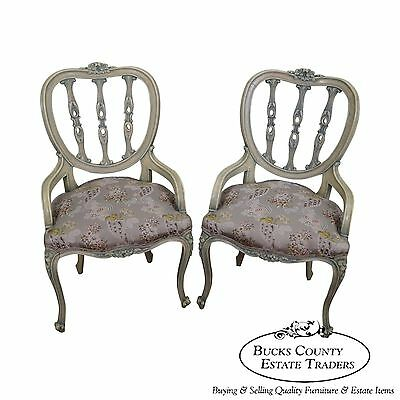 Vintage French Louis XV Hollywood Regency Style Painted Chairs