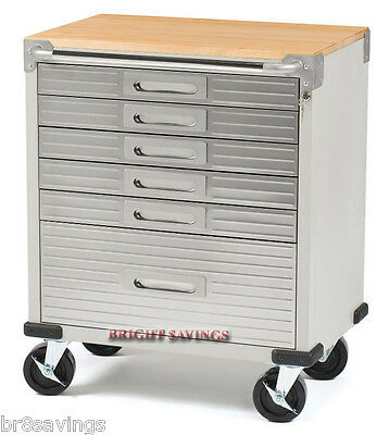 New Stainless Steel 6 Drawer Rolling Tool Chest Box Toolbox Cabinet Wood Top