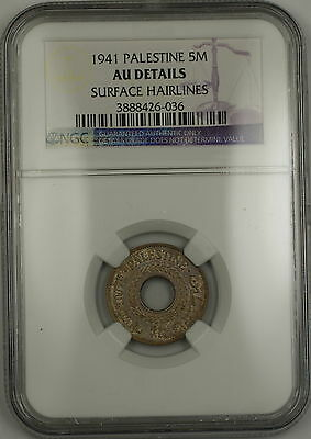 1941 Palestine 5M Five Mils Coin NGC AU Details Surface Hairlines
