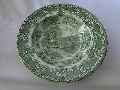 Grindley Transferware English Country Inns Green Rimmed Soup Bowl
