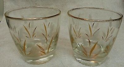 2 Golden Wheat Libbey Old Fashioned glasses with 22Kt Gold Trim