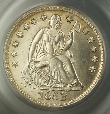 1853 Seated Liberty Silver Half Dime OGH PCGS MS-63 (Better Coin) CM *Scarce*