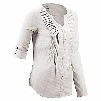 Kathmandu Moritz Womens Long Sleeve Vneck Woven Shirt Organic Cotton New