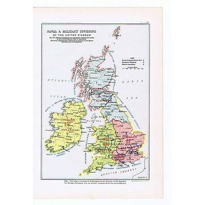 BRITAIN Naval and Military Divisions of the UK - Antique Map 1904 by Bartholomew