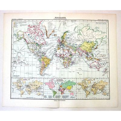 Weltkarte (The World) in Mercators Projection -  Antique Stieler Map 1905